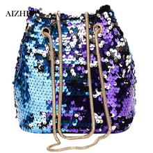 High Quality Women Girl Sequin design Fashion Shoulder Bag Handmade design Female Bling Sequins Mini Bucket Bag Bolsos Mujer