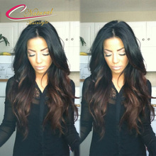 Two Tone Ombre Brown Ends Full Lace Wigs Brazilian Virgin Hair Density 130% Ombre Hair Glueless Lace Front Wigs For Black Women