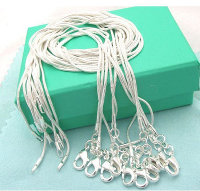 5pcs/lot (16 18 20 22 24 inches) Fashion Jewelry 925 Sterling silver Chains 1mm Snake Chain Necklace Jewelry 1