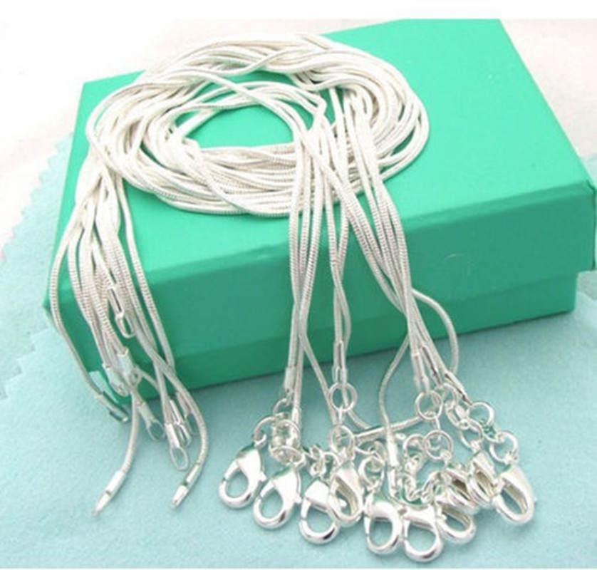Цепочка-змейка из серебра 925 пробы, 1 мм, 5 шт./лот (16 18 20 22 24 дюйма)