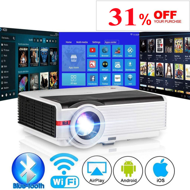 CAIWEI Android WiFi LED Projector Home Cinema Proyector Bluetooth 1280x800 Resolution Full HD Video USB TF HDMI AV