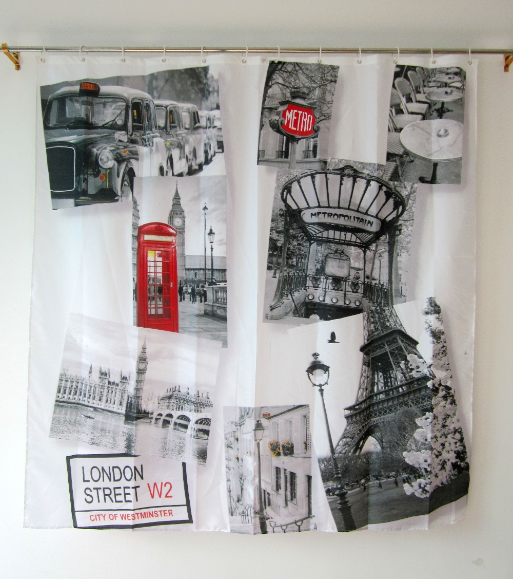 British Shower Curtain Cheap Bathroom Products Polyester Waterproof ...