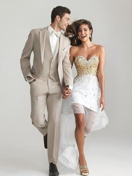 New custom made Ball Gowns Champagne tuxedo groom wedding suit groom wedding suits ( jacket+Pants+vest+tie)