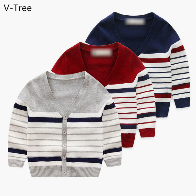 Boys Cotton Sweater Spring Autumn Children Long Sleeve Cardigan Winter Warm Toddler Knitted Coat Clothing Baby Kids Stripe Cloth
