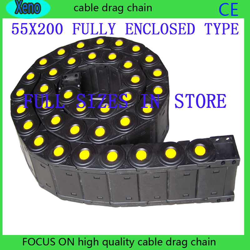 Free Shipping 55x200 1 Meters Fully Enclosed Type Plastic Towline Cable Drag Chain For CNC Machine