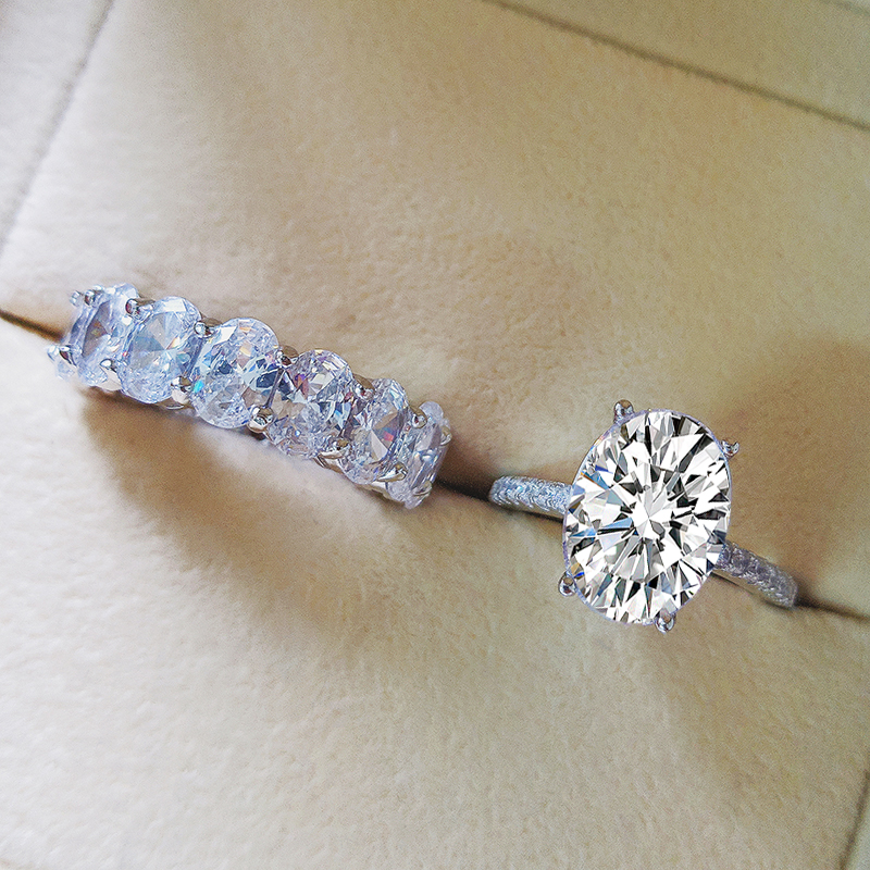 Moonso Real 925 bague de mariage ovale en argent Sterling pour femmes ensemble de fiançailles de luxe bande éternité bijoux zircone LR5349S