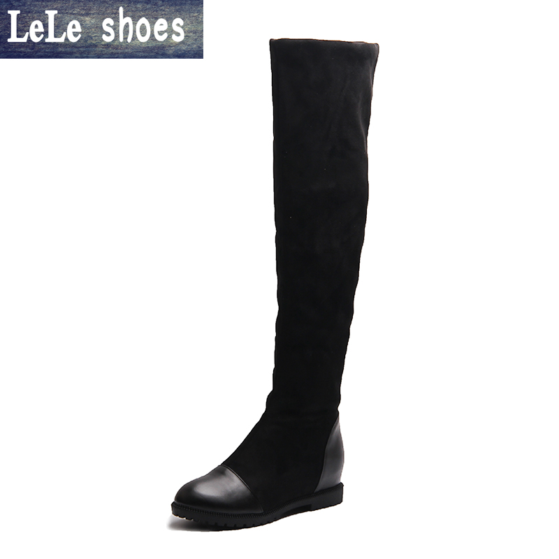 New Brand Big Size Winter Women Boots Over The Knee Thigh High Elastic Suede Warm Plush Fur Platform Boots Botas Zapatos Femmes new winter women over the knee thigh high boots sweet black brown ladies shoes a181h plus big size 45 10 11 warm fur