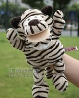 Vendita calda 1 pz 30 cm storia piccola tigre burattini di mano con i piedi educativi gioco peluche doll stuffed toy divertente regalo del bambino