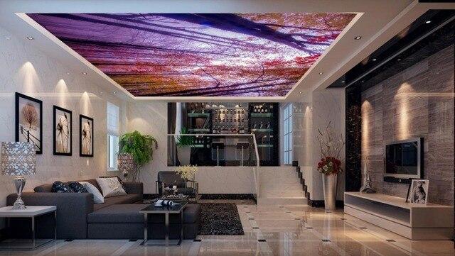Kundenspezifische 3d Wallpaper Landschaft Wald Bambus Wald Decke