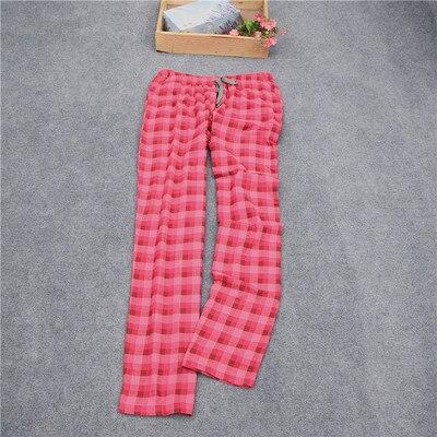 Женские брюки; длинные брюки; тканые хлопковые брюки для сна; женские брюки - Цвет: Rose red coffee grid