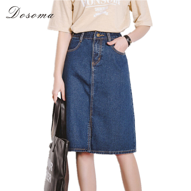 33852b0218 girls midi denim skirt 2017 korean style high waist simple jeans midi skirt  girls preppy style slim skirt vintage denim skirt