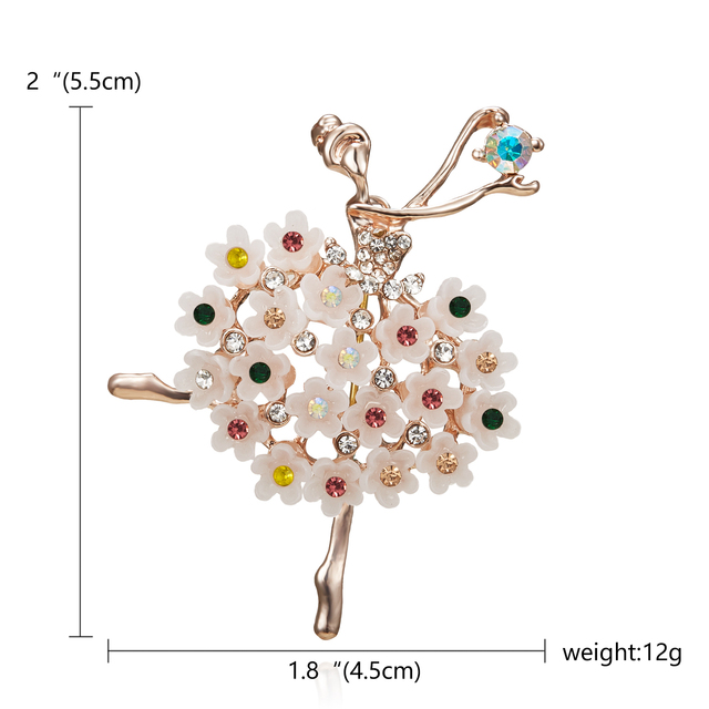 Dance girls Swan Lake Factory Direct Sale Ballet Dancing Girl Shinning Crystal Glass Brooches for Woman in assorted designs