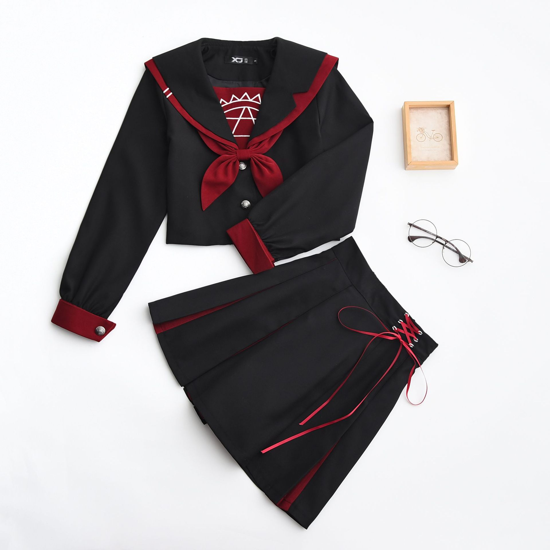 New School Uniforms For Girls Magic Array Embroidery Student Suit Long Sleeved Japanese Cosplay Jk College Sailor Uniform Girl-in School Uniforms from Novelty & Special Use    1