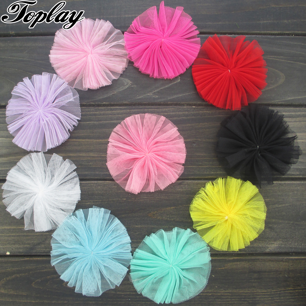 Toplay 80pcs/lot 3.5Yarn Flower For Princess Headband Boutique Hair Flower For Corsage/Apparel Accessories Artificial Flower