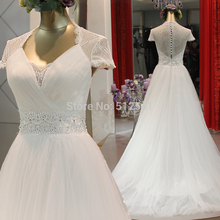 Really Images Sheer Wedding Dresses A Line V Neck Lace Beads Pleats Applique Cap Sleeves Bridal Gowns yk1A408