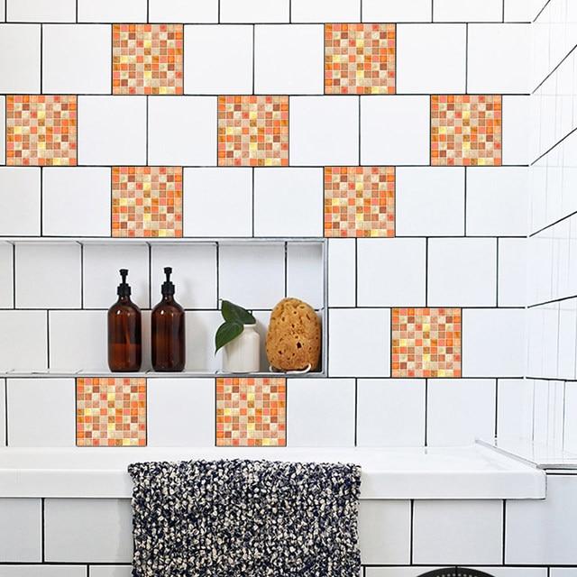 cheap pegatinas de pared de mosaico de color naranja retro azulejo azulejos pegatinas cocina bao aseo impermeable adhesivo de pvc de pared de papel - Azulejos De Bao