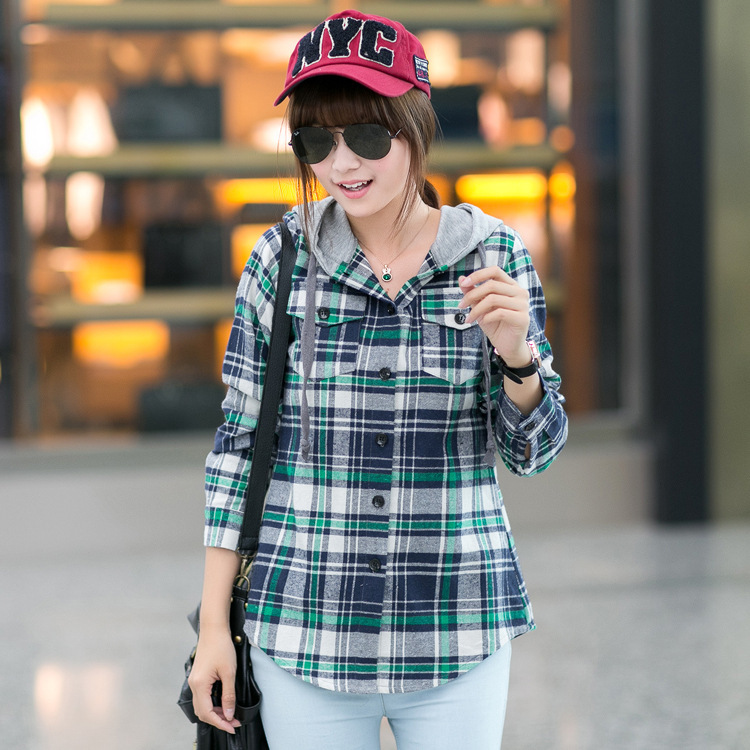 5b71069c29f6 Long Sleeve Plaid Shirt Hoodie Flannel 2015 New Autumn Student Checkered  Shirt Women Blouses Cell Women Red Plaid Hooded Shirt-in Blouses & Shirts  from ...