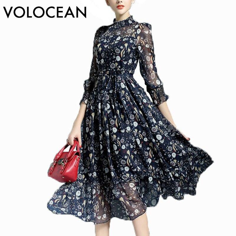 Volocean 2018 Maxi Robe Pour Les Femmes Doux Robes De Boule De Robe Fleur Imprimer Robes Femmes Slim Elegent Vintage Soie Femelle Robe