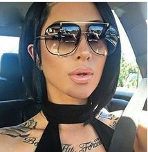 914425c0f6 HBK moda Oversized Pilot gafas de sol mujer UV400 Retro marca diseñador  gran marco gafas de sol para las señoras femeninas Eyewe.