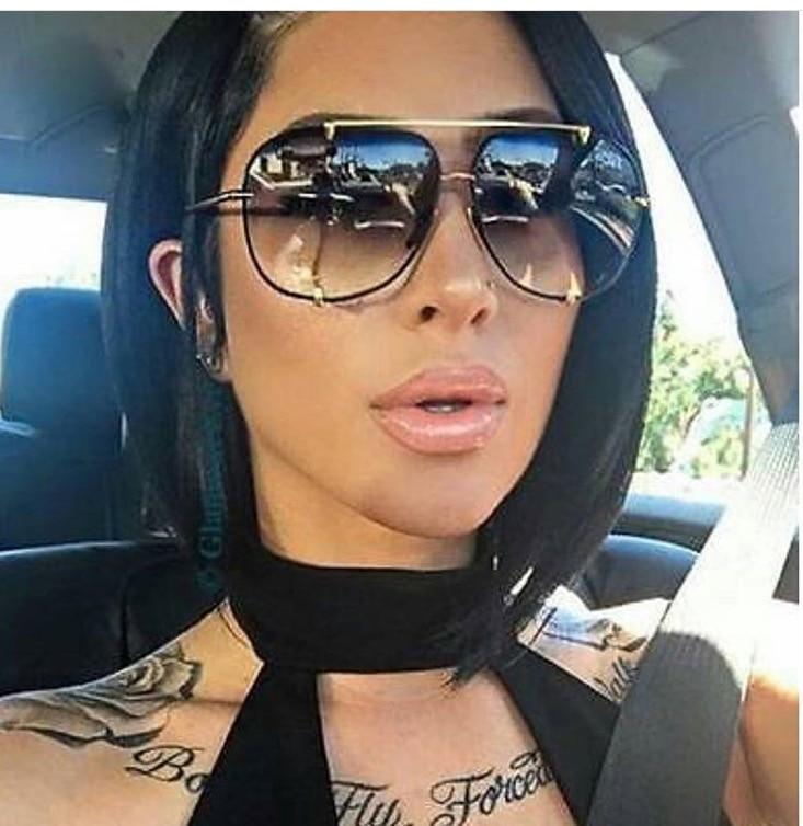 HBK Fashion Oversized Aviator Sunglasses Women UV400 Retro Brand Designer Big Frame Sun Glasses For Female Ladies Eyewear