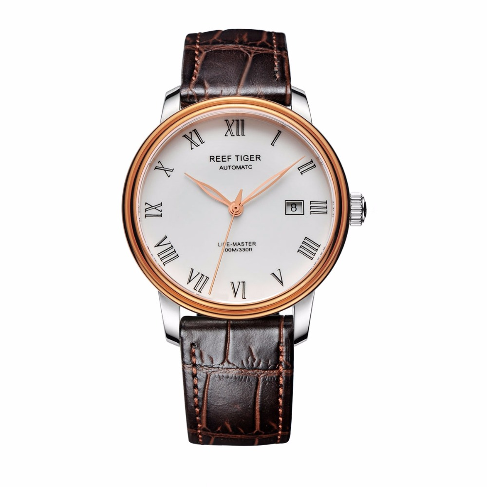 Reef Tiger/RT Fashion Casual Business Watches for Men Brand Leather Strap Automatic Watch with Date Rose Gold Steel Watch RGA812 reef tiger designer fashion diamonds automatic watch with white mop dial steel watches for women rga1550