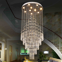 LED Crystal Ceiling Chandelier Lamps Hanging Pendant Lamp Fixtures For Villa Hotel Dining Room Office Mall