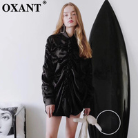 OXANT Women's Shirt Dress 2019 Spring and Summer New Agaric Edge Stitching Drape Four color Pearl Satin Sexy Shirt Dress