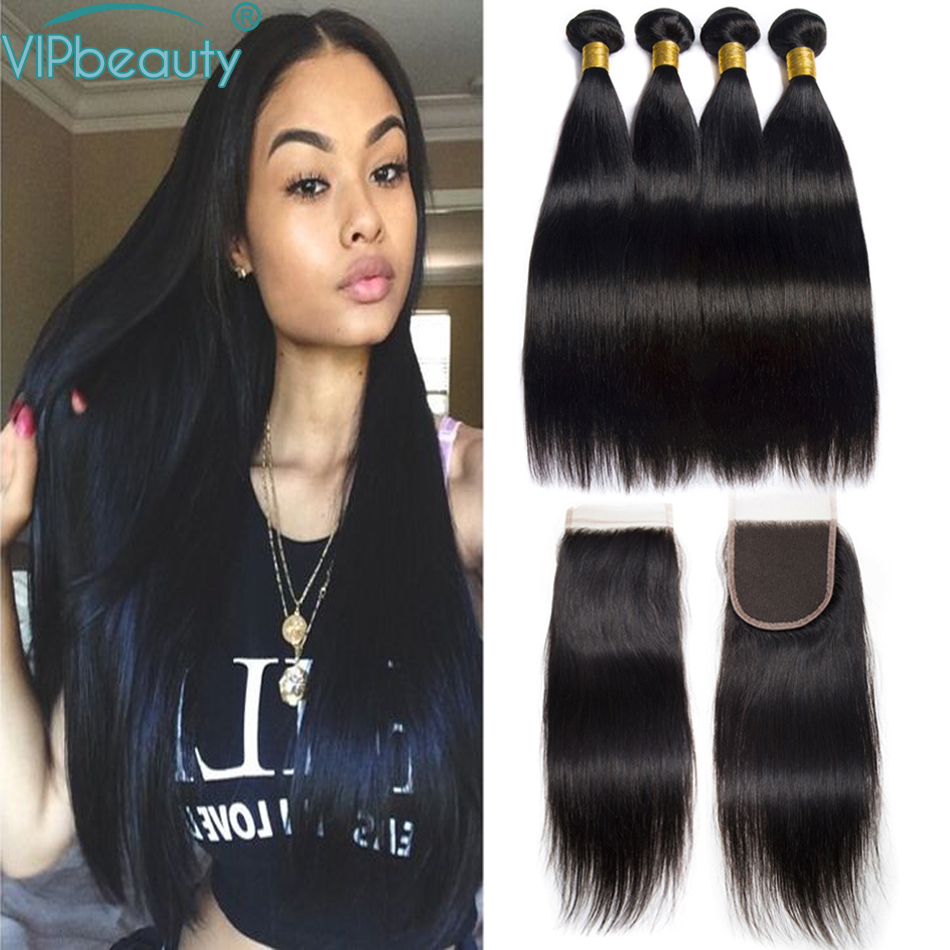 Human Hair Bundles With Closure Vip beauty Straight Peruvian Hair Bundles with Closure Human Hair Bundles