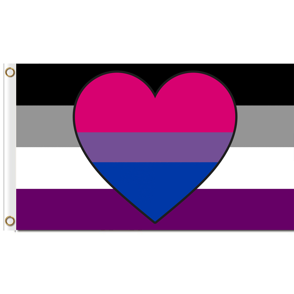 <font><b>Asexual</b></font> Biromantic Flag 3x5 ft Printed Polyester Large Gay <font><b>Pride</b></font> LGBT Flag image
