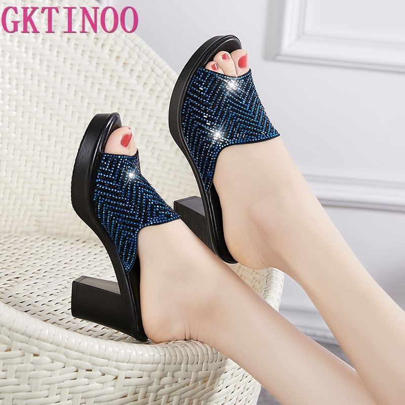 GKTINOO Women Slippers 2019 Ladies Summer Slippers Genuine Leather Shoes Women High Heels Fashion Rhinestone Summer ShoesGKTINOO Women Slippers 2019 Ladies Summer Slippers Genuine Leather Shoes Women High Heels Fashion Rhinestone Summer Shoes