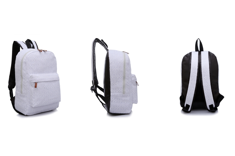 f2534480f444 BB 13 High Quality Fashion cute Pure White Lace canvas backpack ...
