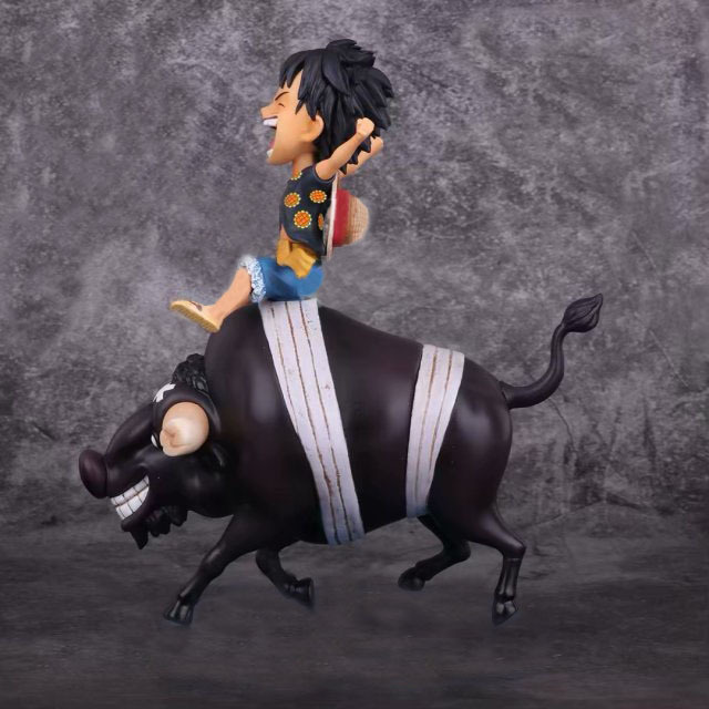 Anime One Piece ride a cow Monkey D Luffy on an Ox Bull Riding Action Figure Collection Model Toys in Action Toy Figures from Toys Hobbies