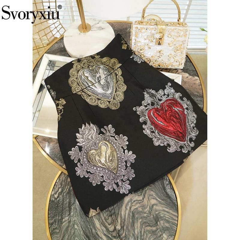 Svoryxiu Runway Custom Jacquard Black Mini Skirts Women s Gorgeous Baroque Style Heart Shaped Printed Empire