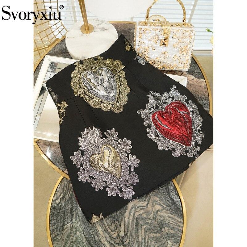 Svoryxiu Runway Custom Jacquard Black Mini Skirts Women's Gorgeous Baroque Style Heart Shaped Printed Empire A Line Skirts