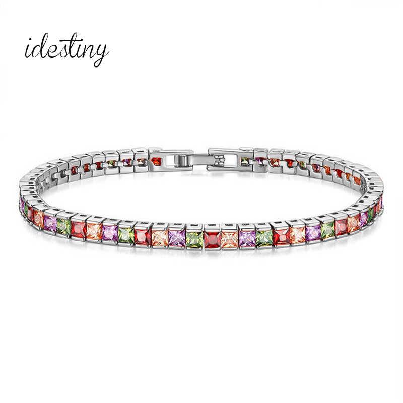 IDESTINY CZ Теннисный браслет с 4 мм Принцесса Cut модные бренды кубического циркония Браслеты для Femme Обручение Jeweley подарок