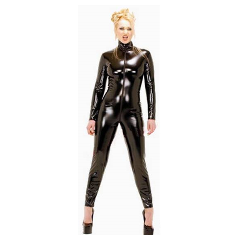 S Xxl Pvc Sexy Latex Catsuit Women Black Shiny Leather -4810