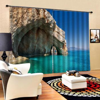 Beach sea curtains 3D Blackout Window Curtains For Living Room office Bedroom Drapes Cortinas blue curtains