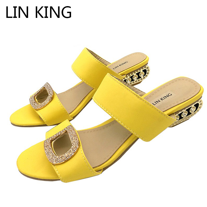 LIN KING New Big Size Summer Slippers Women Sandals Fashion Women Slides Lady Rhinestone Bohemia Shoes Square Heel Girl Slippers big size 34 43 fashion womens shoes 7 5cm high heel slippers summer solid concise lady sandals square heels female flip flops