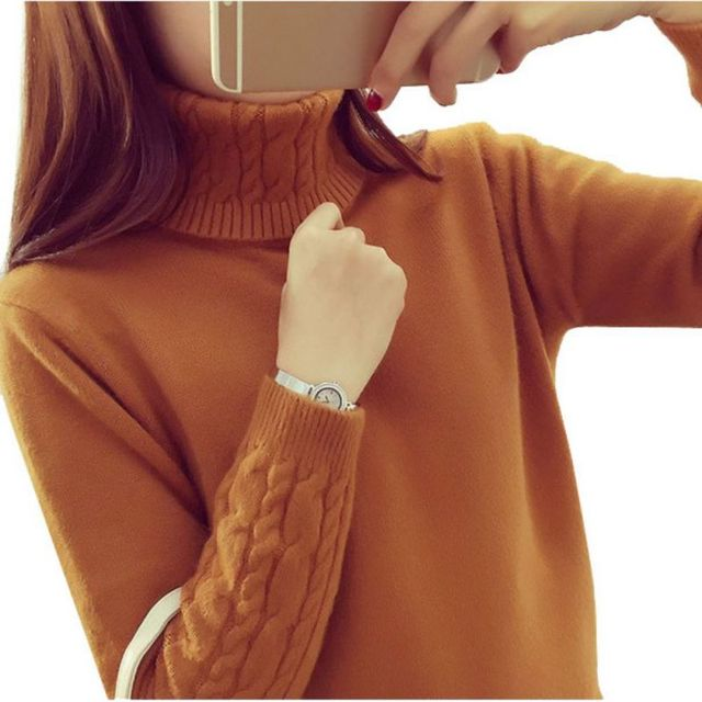 Women Lady's Fashion Sweaters Pullovers Winter Women Turtleneck Sweater Twisted Thickening Slim Pullover Sweater LM93