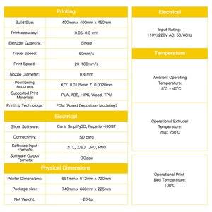 Image 5 - Anycubic 3d drukarka anycubic Chiron Plus duży rozmiar wydruku tanie 3D drukarka 400*400*450mm drukuj zestawy DIY FDM TFT impresora 3d