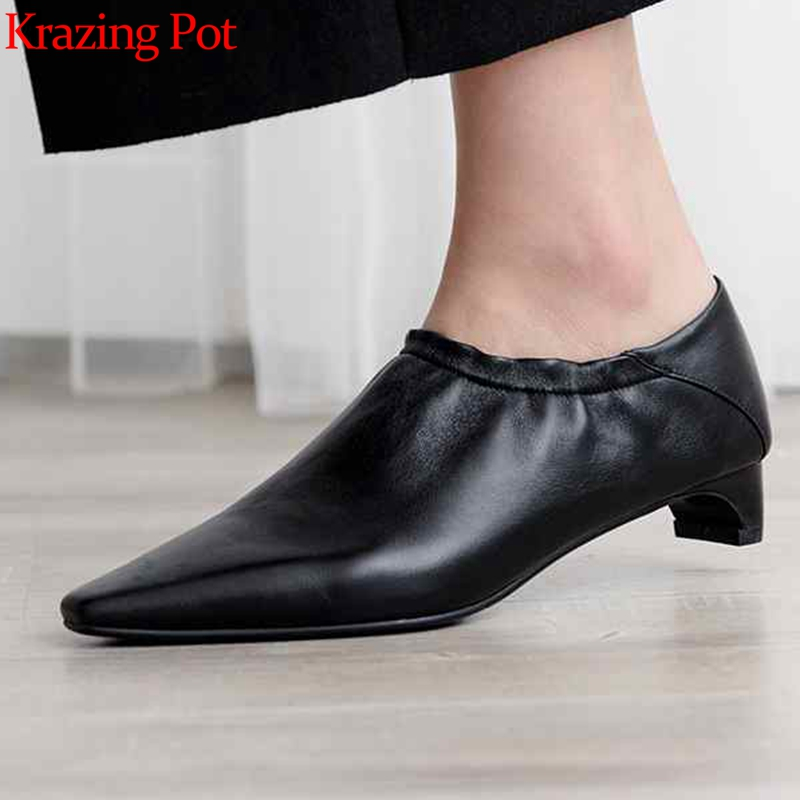Krazing Pot hot selling sheep leather slip on low heel streetwear concise design square toe simple style soft leather pumps L08Krazing Pot hot selling sheep leather slip on low heel streetwear concise design square toe simple style soft leather pumps L08