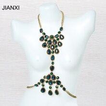 JIANXI  bohemian Fashion crystal Body chain for women alloy summer beach Hawaii  bikini Jewelry  Water Drops  round