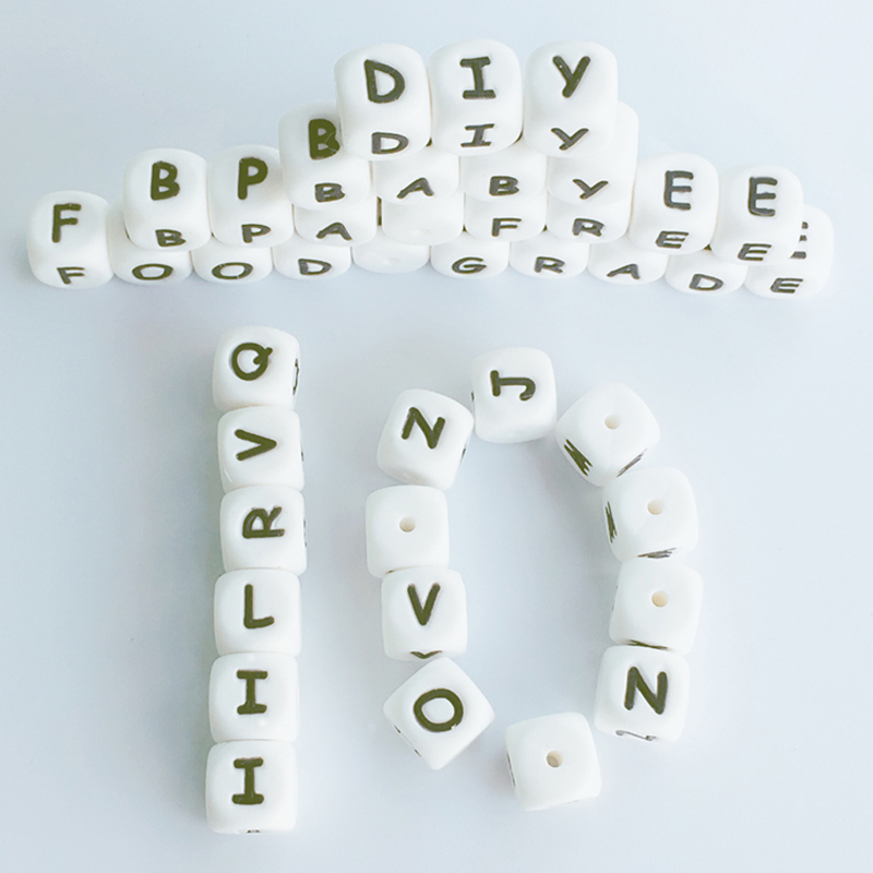 100Pc Bag Silicone Letter Beads For Insert Name On Pacifier Chain Clips 12Mm Chewing Alphabet Beads For Baby Necklace Teethers in Baby Teethers from Mother Kids