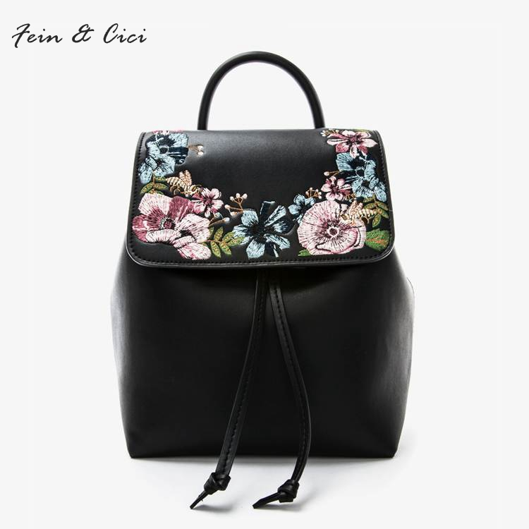 women genuine leather Backpack embroidery bee bag flower Backpacks summer autumn 2017 new arriver black pink grey color рюкзак ucon bryce backpack ss17 black grey