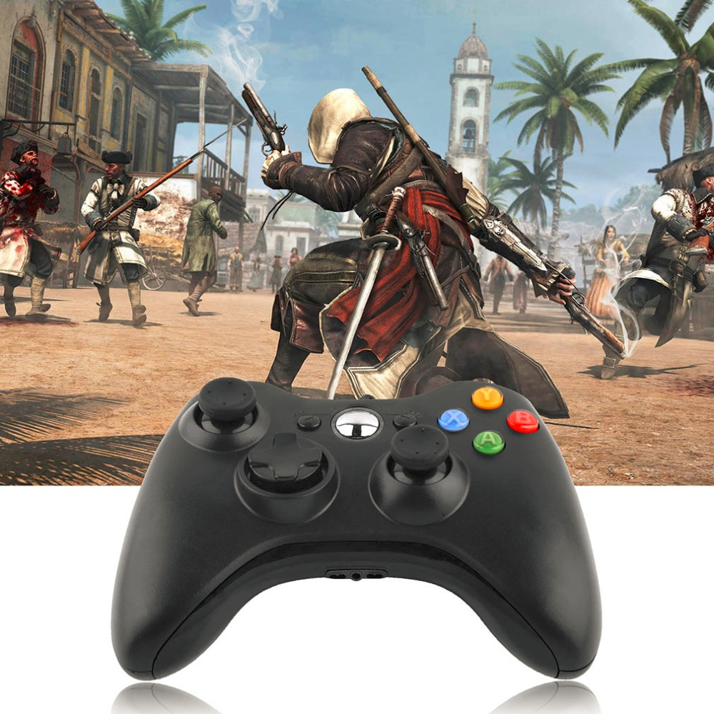 все цены на Gamepad USB Wired Joypad Controller For Microsoft for Xbox Slim 360 for PC for Windows7 Black Color Joystick Game Controller онлайн