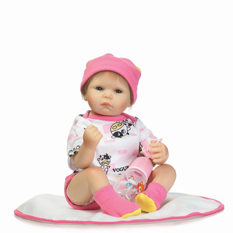 22 Inch Adorable Reborn Doll Babies Girl Doll with Clothes,Real Vinyl Dolls Toys for Girls Gift Children Birthday Present 18 inch newest vinyl dolls girl doll with dress and hat lovely princess doll toys for children christmas gift
