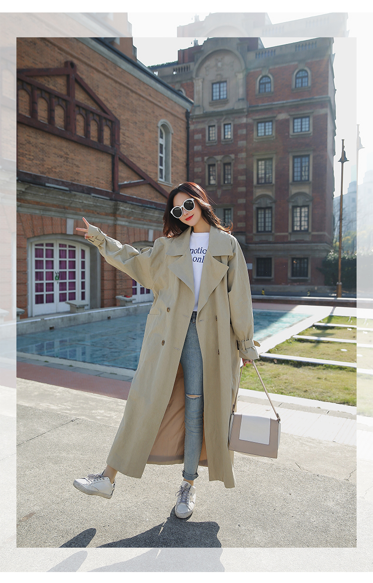 new arrival women fashion holiday comfortable loose trench coat professional OL temperament solid girls warm outdoor long trench 1