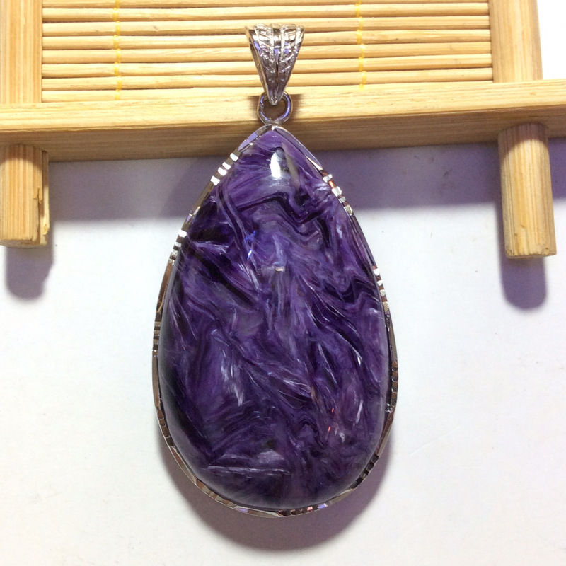S925 argent incrusté naturel violet dragon cristal peu importe marque goutte d'eau pendentif