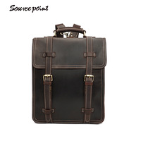 First layer cowhid laptop backpack Vintage large Capacity travel bags waterproof antitheft Schoolbag Casual Fashion bag