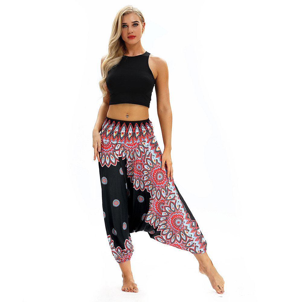 Women Men Pants Casual Woman High Waist Wide Leg Harem Trousers Baggy Boho Loose Aladdin Festival Hippy Jumpsuit Print Lady pant 88